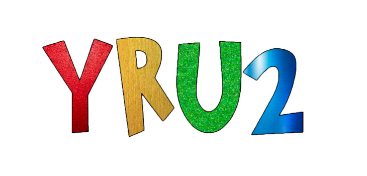 "The letters ""Y.R.U.2"" in multicolor"