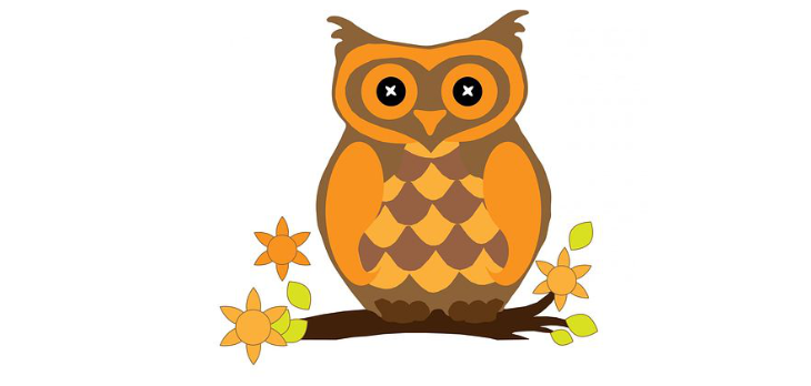 A cartoon of an orange owl